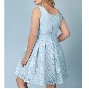 Rebel Wilson for torrid blue skater jacquard dress